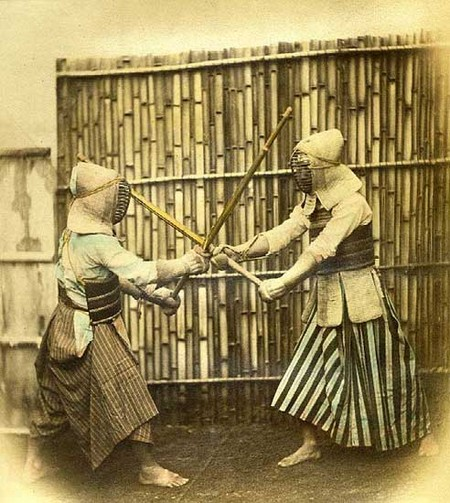 photo d'entraînement d'escrime au Japon à l'ère Meiji