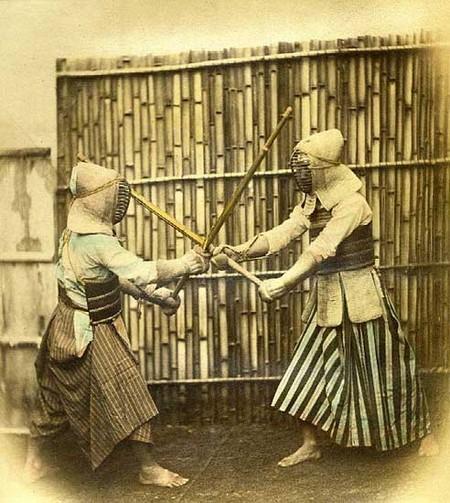 photo d'entraînement d'escrime au Japon à l'ère Meiji