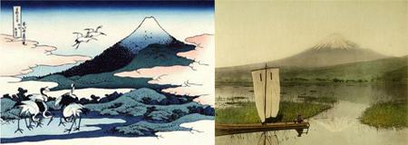 mont fuji par Hokusai et en photo