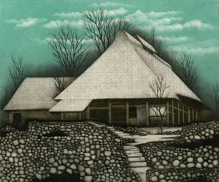 maison avec jardin de pierre, gravure de Koichi Sakamoto
