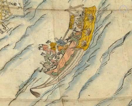 bateau sur la carte d'Edo en 1680