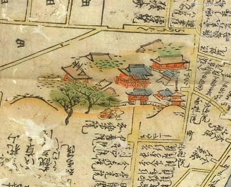 Maisons sur la carte d'Edo de 1680