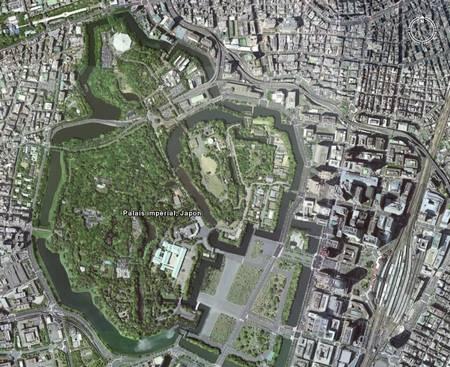 Photo satellite du palais impérial dans la ville de Toky actuelle.