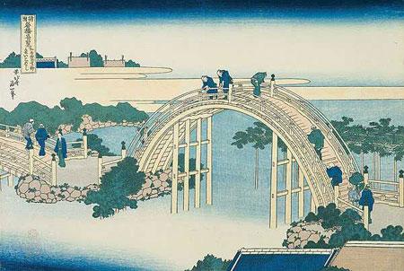 pont de kameido par Hokusai