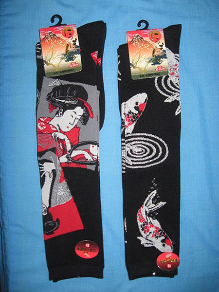 chaussettes aux motifs japonais